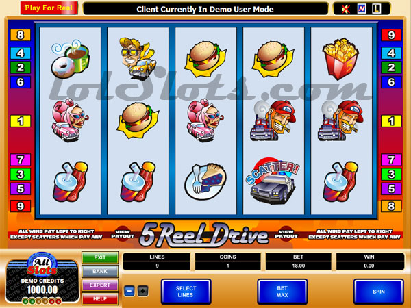 5 reel drive slots game paytable