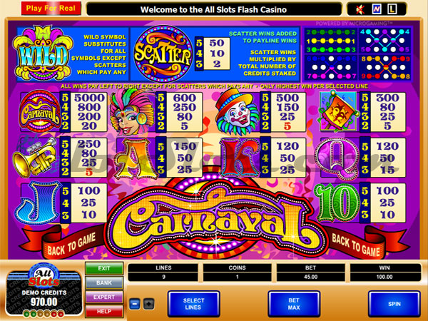 carnaval slots payout table
