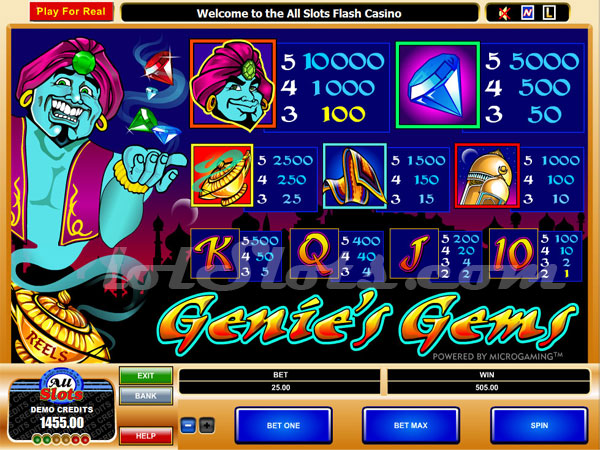 Genies Gems Slot Machine - Play for Free & Win for Real