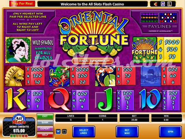 oriental fortune paytable