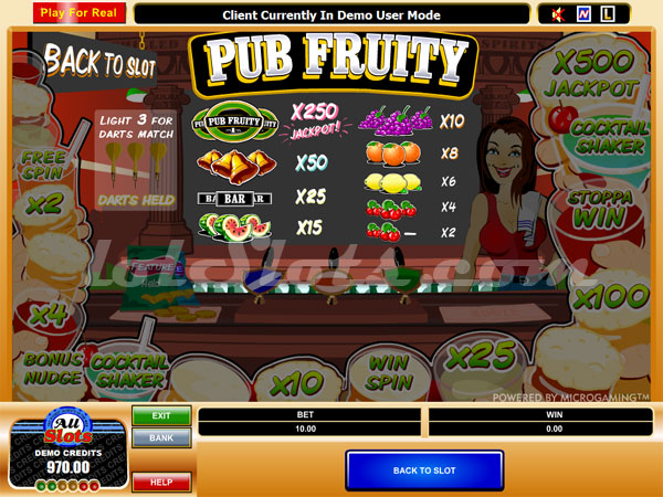 pub fruity slots paytable