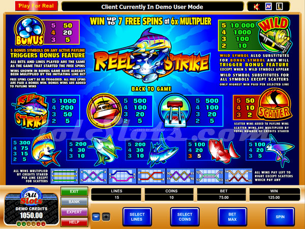 reel strike slots paytable