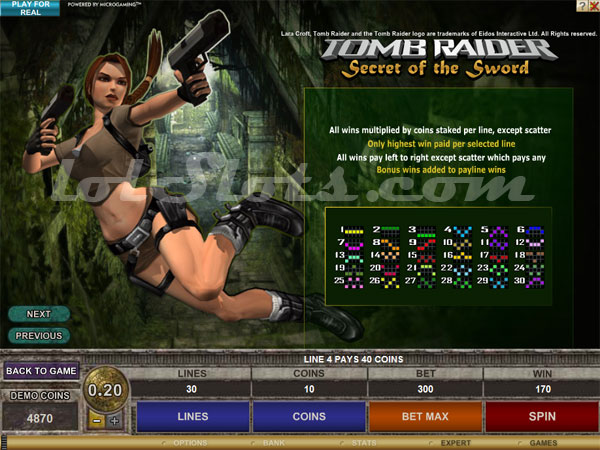 tomb raider slots bonus game