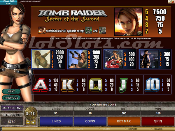 tomb raider slots payout table